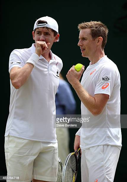 lr JohnPatrick Smith of Australia and Jonathan Marray of Great Britain during their Gentlemen's Doubles first round match against Andreas Siljestrom...