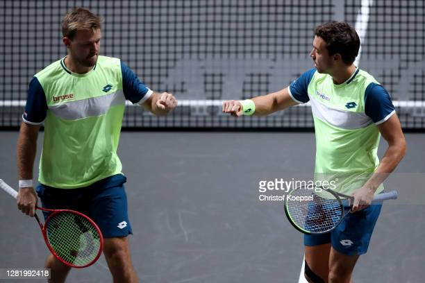 Lr Kevin Krawietz of Germany and Andreas Mies of Germany celebrate during the double semi final match between Marcus Daniell of New Zealand and...