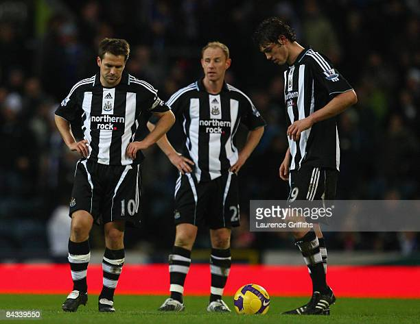 lr Michael Owen Nicky Butt and Andrew Carroll of Newcastle show their dissapointment during the Barclays Premier League match between Blackburn...