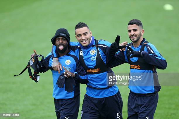 lr Nathan Dyer Danny Simpson and Riyad Mahrez during the Leicester City training session at Belvoir Drive Training Complex on November 26th 2015 in...
