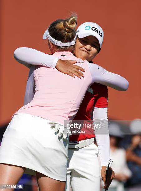 lr Nelly Korda of the United States and Haru Nomura celebrate after the 18th hole during day three of the 2019 ISPS Handa Women's Australian Open at...