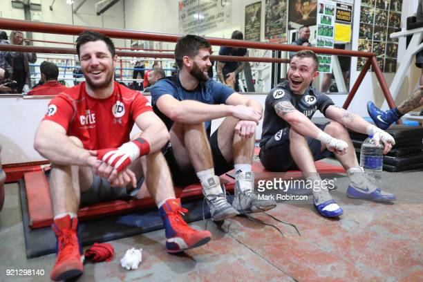 lr Tommy Coyle and Rocky Fielding share a joke with Carl Frampton during a media work out session at VIP Boxing Gym on February 20 2018 in Manchester...