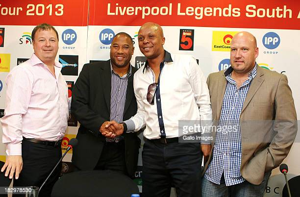 lr_ Jared Ayres John Barnes Doctor Khumalo Pete de Wet during the Launch of the Liverpool FC Legend Tour press conference announcement from Moses...