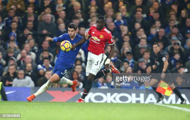 LRChelsea's Alvaro Morata holds of Manchester United's Eric Bailly during the Premier League match between Chelsea and Manchester United at Stamford...