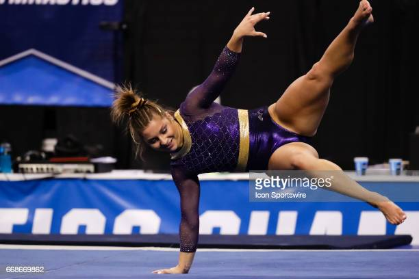 LSUs McKenna Kelley performs her floor routine during the NCAA Gymnastics Women's National Championship Semifinal 2 on April 14 at Chaifetz Arena in...