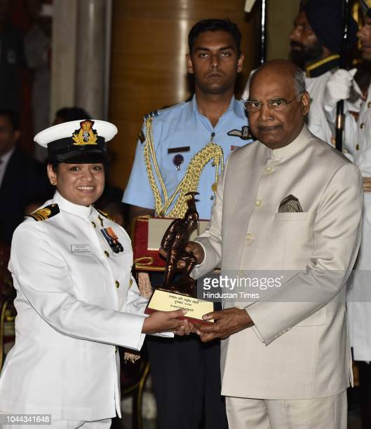 Lt Cdr Aishwarya Boddapati receives the Tenzing Norgay National Adventure Award 2017 for her achievements in Navy from President Ram Nath Kovind...