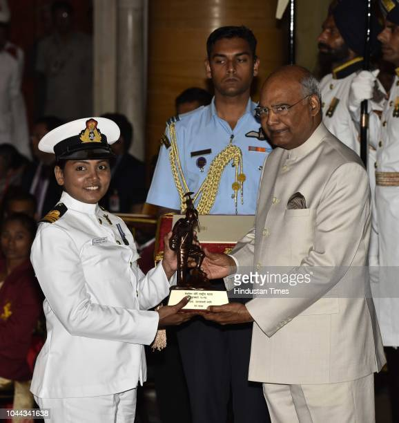 Lt Cdr Patarlapalli Swathi receives the Tenzing Norgay National Adventure Award 2017 for her achievements in Navy from President Ram Nath Kovind...