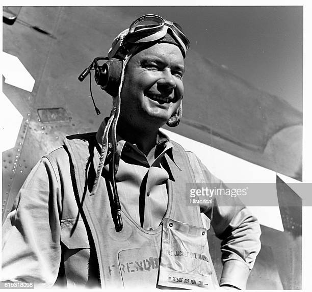 Lt Cdr Paul D Buie CO of a carrier based fighter squadron on board the USS Lexington December 1 1943