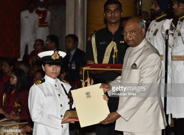 Lt Cdr Pratibha Jamwal receives the Tenzing Norgay National Adventure Award 2017 for her achievements in Navy from President Ram Nath Kovind during...