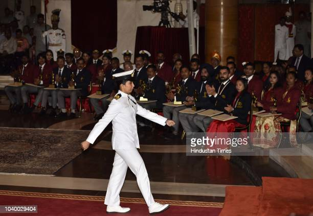Lt Cdr Vartika Joshi before receiving the Tenzing Norgay National Adventure Award 2017 for her achievements in Navy from President Ramnath Kovind...
