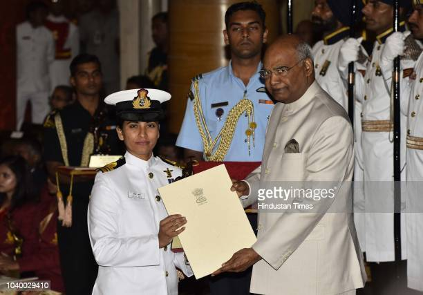 Lt Cdr Vartika Joshi receives the Tenzing Norgay National Adventure Award 2017 for her achievements in Navy from President Ramnath Kovind during the...