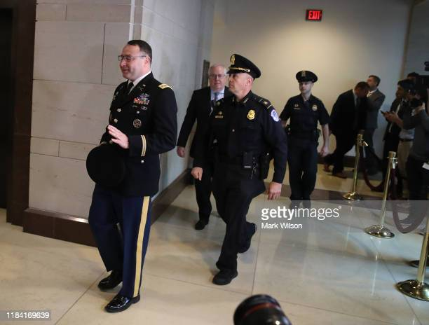 Lt Col Alexander Vindman director for European Affairs at the National Security Council arrives at the US Capitol on October 29 2019 in Washington...