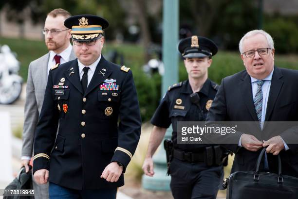 Lt Col Alexander Vindman director of European affairs at the National Security Council arrives at the Capitol for his deposition as part of the...