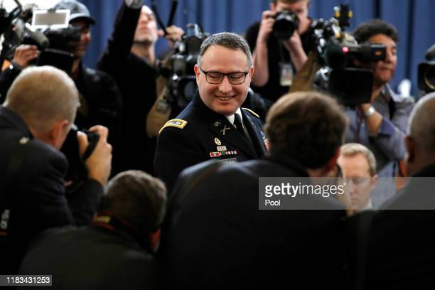 Lt Col Alexander Vindman National Security Council Director for European Affairs arrives to testify before the House Intelligence Committee in the...