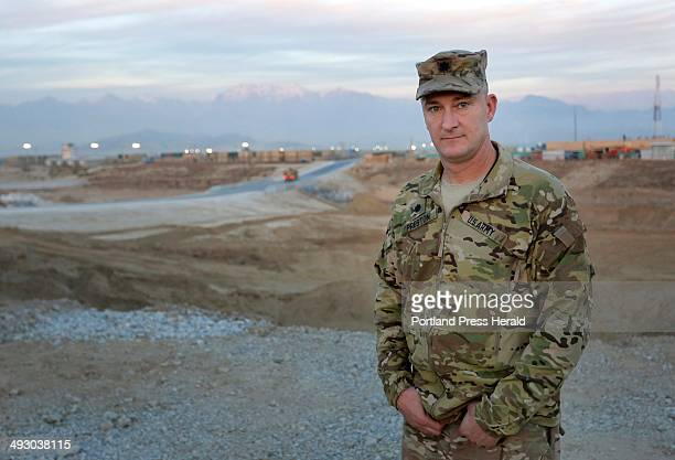 Lt Col Dean Preston poses for a portrait at the headquarters of the 133rd Engineer Battalion of the Maine Army National Guard Friday December 20 2013...