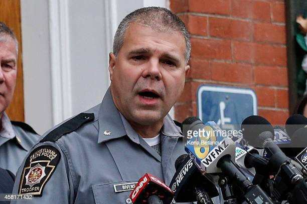 Lt Col George Bivens of the state police attends a press conference in the front of the court house after Eric Frein makes first court appearance on...