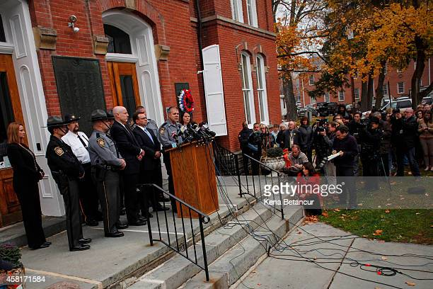 Lt Col George Bivens of the state police speaks at a press conference in the front of the court house after Eric Frein makes first court appearance...