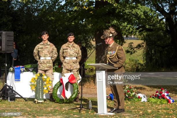 Lt Col Gerry McGowan Australian Defence Force speaks at the official inauguration of the Australian War Monument at the Churchill Memorial Park on...