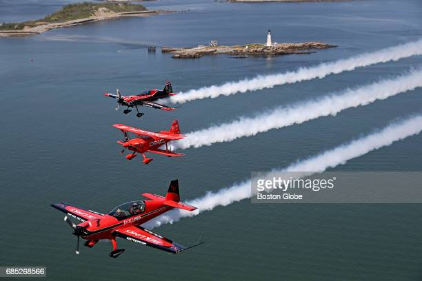 Lt Col John Klatt and the Jack Links Team fly over the Boston Light in Boston on May 18 2017 The team will be at the Rhode Island National Guard Open...