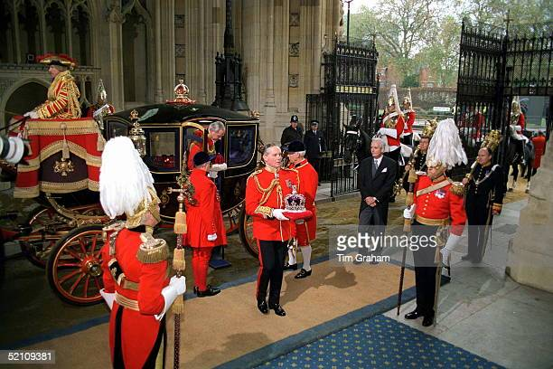 Lt Col Malcolm Ross Carries The Imperial State Crown Into The House Of Lords For The State Opening Of Parliament The Crown Has Been Brought In The...