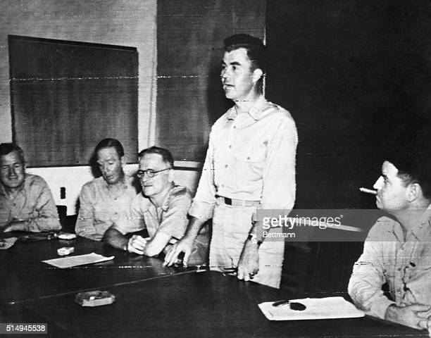 Lt. Col. Paul W. Tibbits, Jr., of Miami, Fla. Pilot of the B-29 Superfort which dropped the first atomic bomb on Hiroshima, tells of his experience...