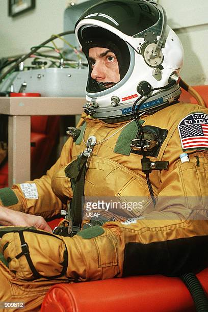 Lt Col Raymond E Yeilding pilot sits in his flight suit prior to his recordbreaking coasttocoast flight in an SR71 aircraft The plane which is being...
