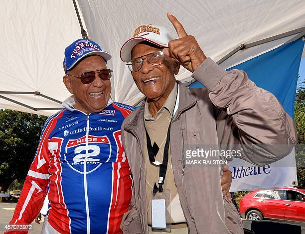 Lt Col Robert Friend 94 and Airman Sgt Walter Crenshaw 104 who are among a handful of surviving Tuskegee Airmen are reunited after Lt Col Friend rode...