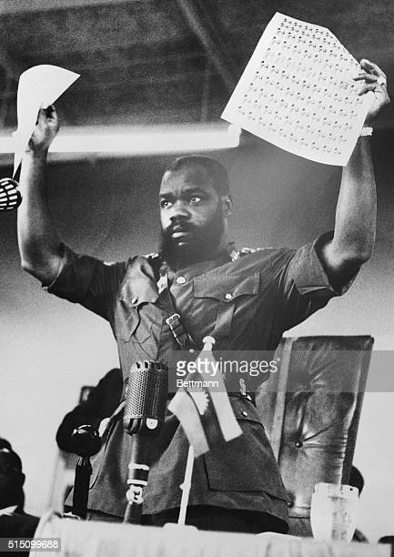 Lt Colonel Odumegwu Ojukwu leader of secessionist Biafra announces introduction of new currency and postage stamps officially issued on January 29th...