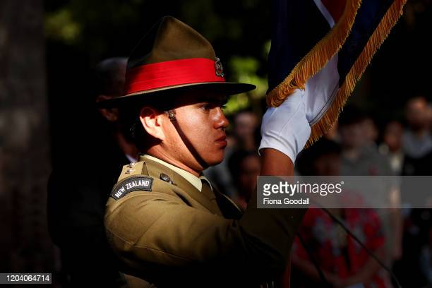 Lt DavisBrooking is the honour guard at the opening of Te Rau Aroha on February 05 2020 in Waitangi New Zealand The $146 million Maori Battalion...