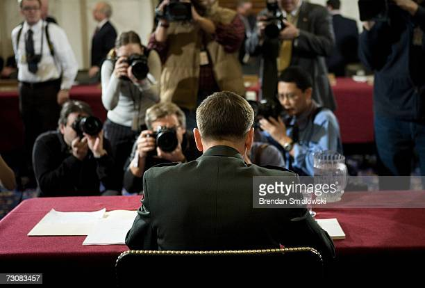 S Lt Gen David Petraeus waits for the beginning of his nomimation hearing of the Senate Armed Services Committee on Capitol Hill January 23 2007 in...