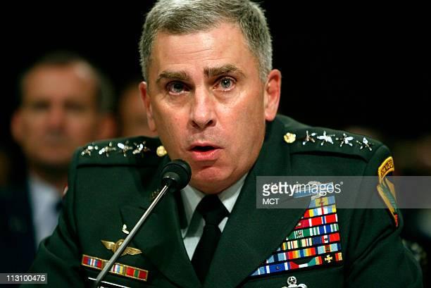 Lt Gen Ricardo Sanchez commander Multinational ForceIraq left Gen John Abizaid commander US Central Command center and Maj Gen Geoffrey Miller deputy...