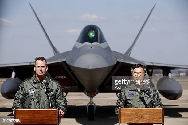 S Lt Gen Terrence J O'Shaughnessy deputy Commander of the US Forces Korea and Lee WangGeun commander at South Korea's Air Force Operations hold a...