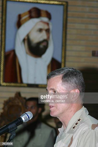 Lt Gen Walter Buchanan commander of US Central Command Air Forces speaks under a portrait of late Prince Mubarak alKabeer founder of new Kuwait at...