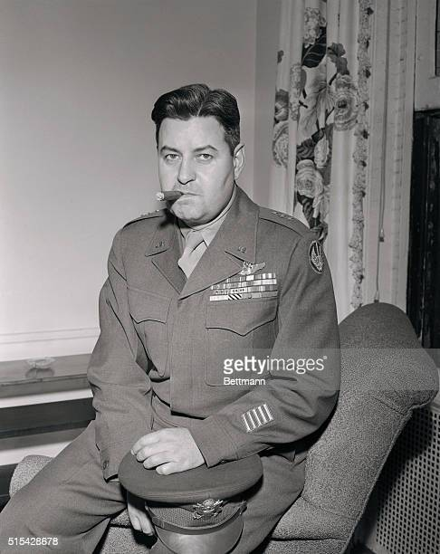 Lt General Curtis E LeMay is seen here at his suite at the Gotham Hotel on his arrival in New York General LeMay is the new Commanding General of...