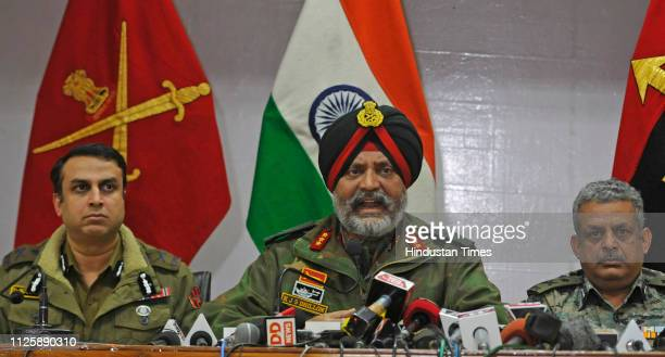 Lt General KJS Dhillon along with Inspector General of Police of Kashmir Swayam Prakash Pani and IG CRPF Zulfiqar Hassan seen during a joint press...