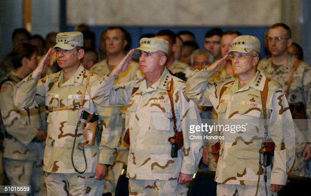 Lt. General Ricardo Sanchez, outgoing Commanding General of Coalition Forces in Iraq,, General John P. Abizaid, Commanding General of U.S. Central...