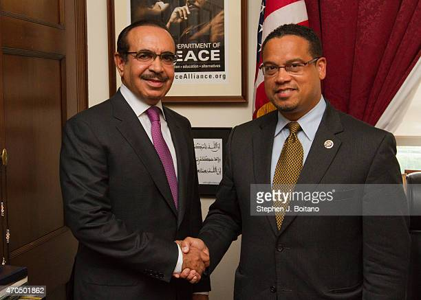 E Lt General Shaikh Rashed Bin Abdulla Al Khalifa Minister of Interior meets with Rep Keith Ellison during an official visit on Capitol Hill