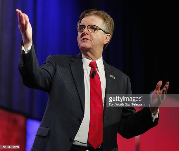 Lt Gov Dan Patrick speaks at the Republican Party of Texas State Convention at the Kay Bailey Hutchison Convention Center Thursday May 12 2016 in...