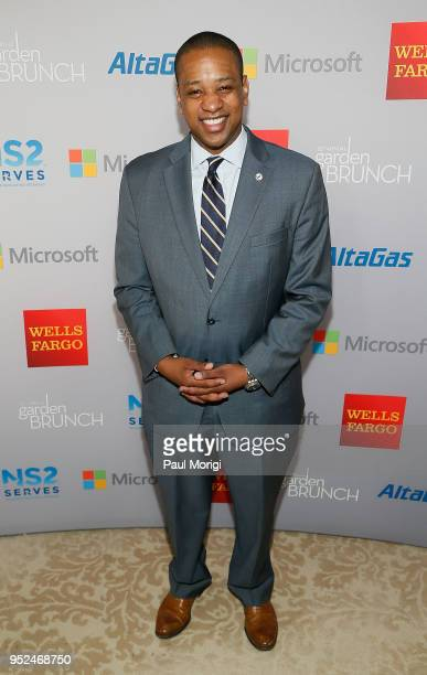 Lt Gov Justin Fairfax attends the 25th annual White House Correspondents' Garden Brunch at BeallWashington House on April 28 2018 in Washington DC