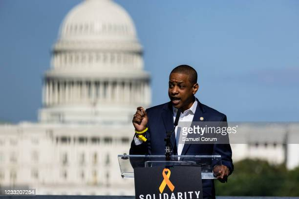 Lt. Gov. Justin Fairfax of Virginia speaks during a rally on the National Mall on May 31, 2021 in Washington, DC. Members and allies of the Asian...