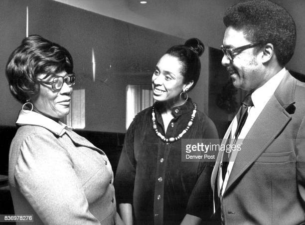 Lt Gov Mrs Brown chat with noted jazz singer Ella Fitzgerald at Playboy Club where Ella was honored Thurs afternoon Credit Denver Post