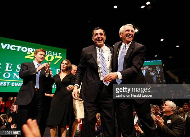 Lt Govelect Dan Mongiardo and Govelect Steve Beshear basked in the crowd's applause at the Democratic victory party at the Convention Center in...