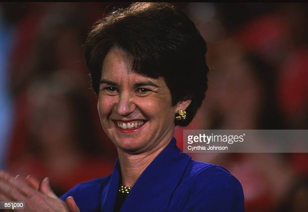 Lt. Governor Kathleen Kennedy Townsend claps her hands at the Responsible Gun Safety Act signing ceremony April 11, 2000 in Annapolis, MD.