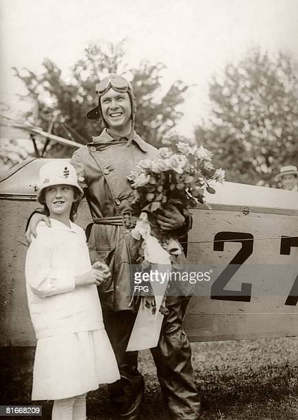 Lt James C Edgerton with his sister Elizabeth after landing his Curtiss Jenny in Washington in the first scheduled air mail flight 15th May 1918...