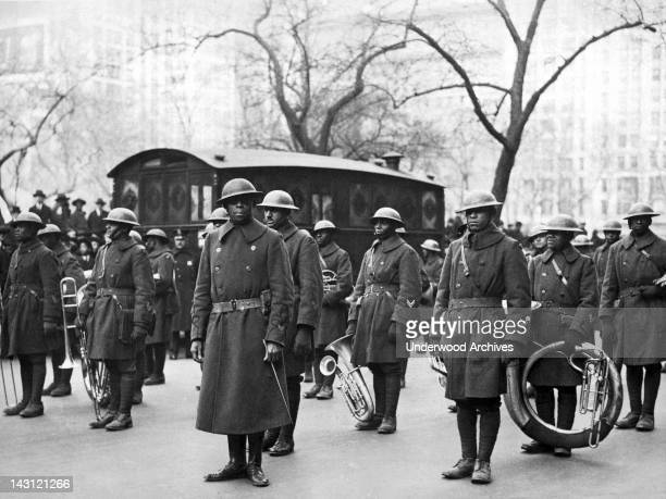 Lt James Reese Europe and members of his 369th Infantry Regiment jazz band upon their return to the United States from Europe New York New York...