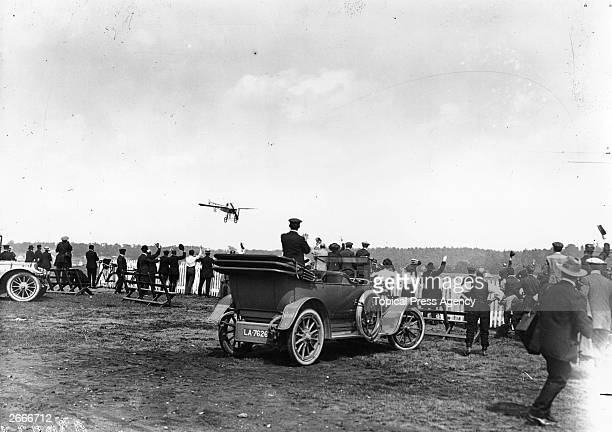 Lt Jean Conneau who raced as Andre Beaumont wins the Daily Mail £10000 Air Race in his Gnome powered Bleriot XI at Brooklands