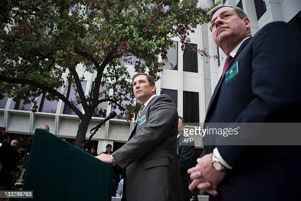 Lt John Corina of the Los Angeles County Sheriff's Department speaks during a press conference in Monterey Park California on November 18 2011 Corina...