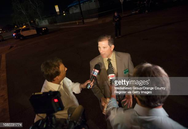 Lt John Corina of the Los Angeles Sheriff's Dept talks with reporters after responding to an active shooter situation in Azusa on Tuesday November 8...