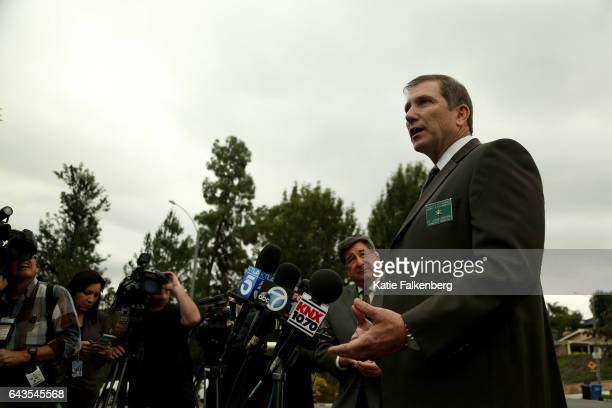 Lt John Corina with the Los Angeles Sheriff's Department's Homicide Bureau talks to the press near the scene of an officerinvolved shooting in the...