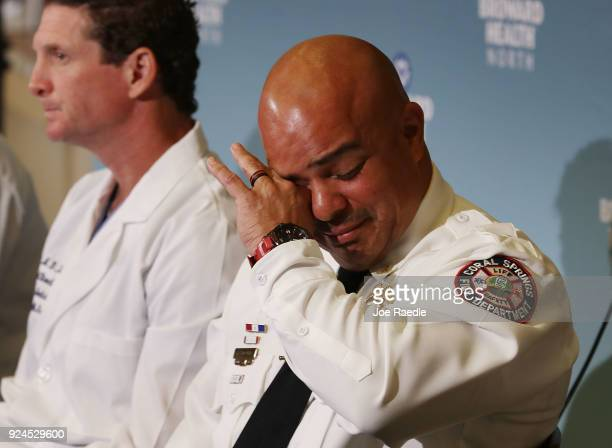 Lt Laz Ojeda Coral Springs Fire Department fights back tears as he talks about the day he helped save the life of Maddy Wilford after she was shot...